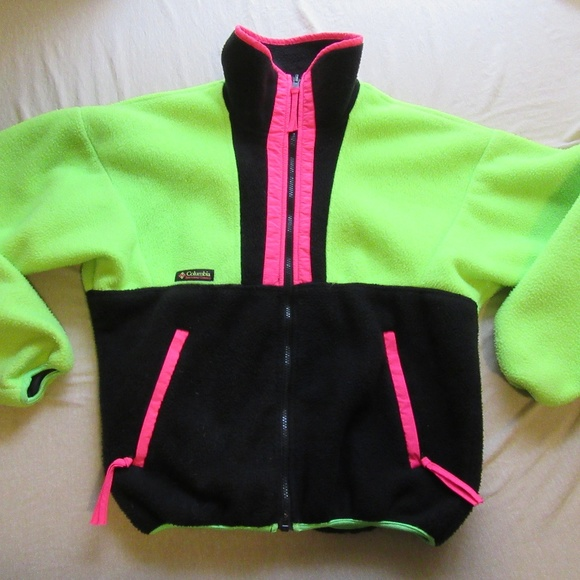 Columbia Other - Vtg Columbia Neon/Black Color Block Fleece Jacket